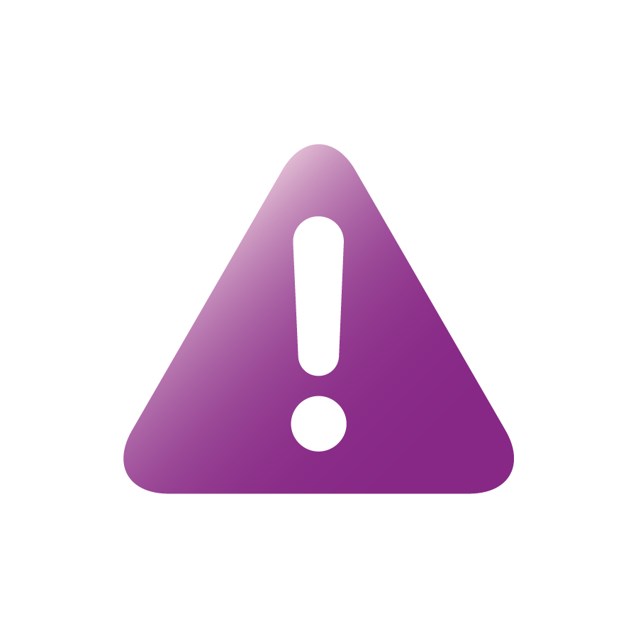 purple triangle with white exclamation point inside
